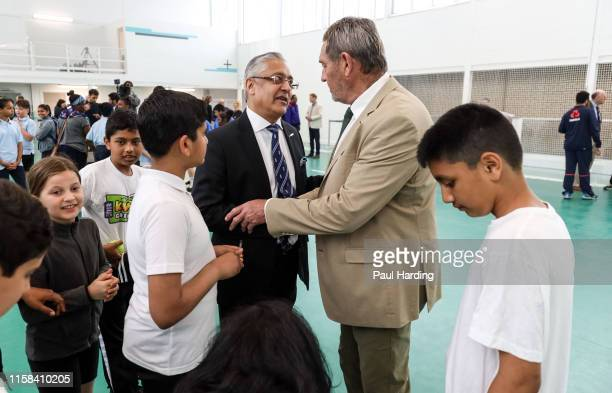 Board member & Chair of South Asian Advisory Group Lord Kamlesh Patel and Graham Gooch during the opening of a new urban cricket centre at Leyton...