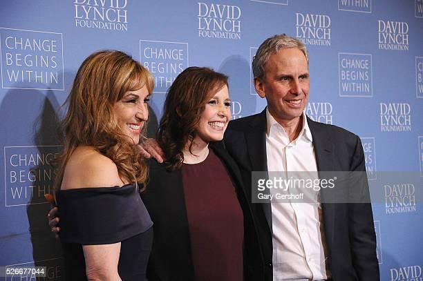 Board Member David Lynch Foundation Joanna Plafsky actress/comedian Vanessa Bayer and Executive Director David Lynch Foundation Bob Roth attend 'An...