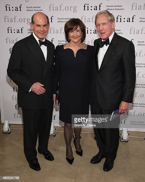 FIAF board member Jeffrey Rosen wife Marjorie Rosen and FIAF board of trustees chairman Robert G Wilmers arrive for the 2014 Trophee des Arts Gala at...