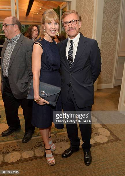 BAFTA board member Julia Verdin and Christoph Waltz attend the BAFTA LA 2014 Awards Season Tea Party at the Four Seasons Hotel Los Angeles at Beverly...