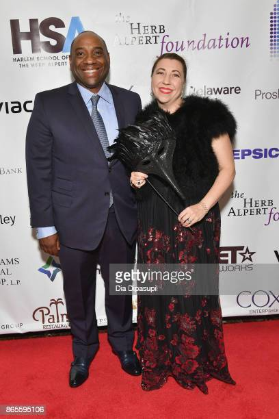 Board Member Luis Penalver and Elizabeth Penalver attend HSA Masquerade Ball on October 23 2017 at The Plaza Hotel in New York City