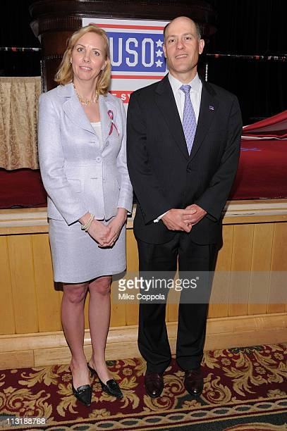 Board Member Michael Anthony and guest attend the USO 45th Annual Woman Of The Year Luncheon honoring Military Women and Women Business Leaders at...