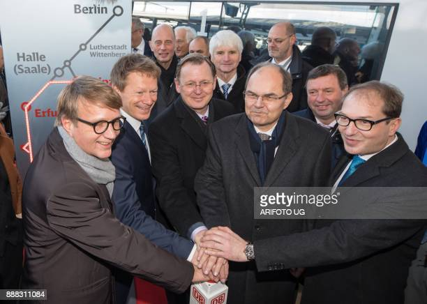 Board member of stateowned national rail network of Germany Deutsche Bahn Ronald Pofalla chairman of German railway operator Deutsche Bahn Richard...