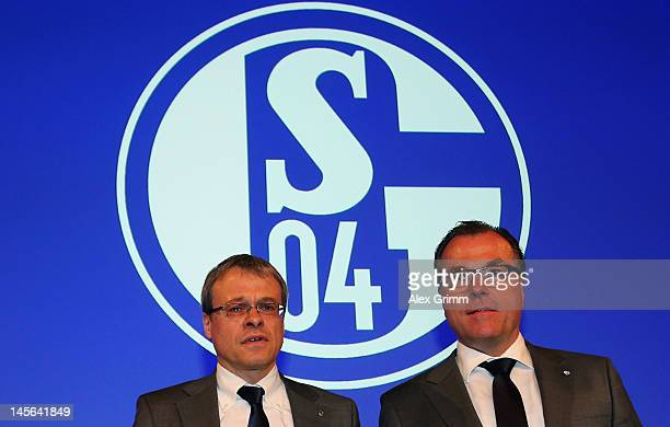 Board member Peter Peters and CEO Clemens Toennies pose during the annual meeting of FC Schalke 04 at Emscher Lippe Halle on June 3 2012 in...
