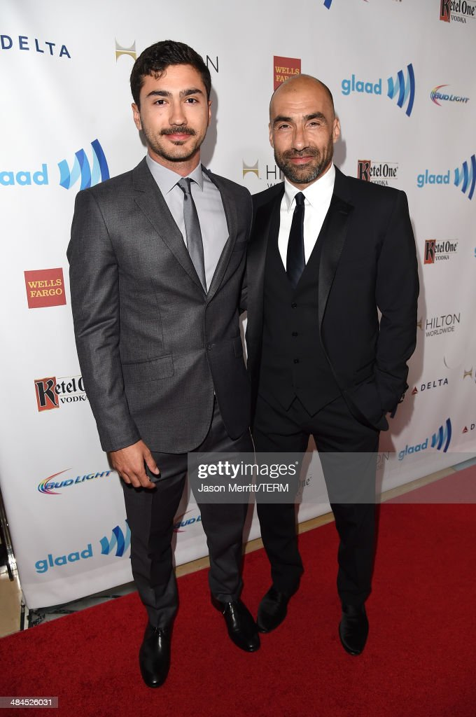 GLAAD board member Steve Warren (R) and guest attend the 25th Annual GLAAD Media Awards at The Beverly Hilton Hotel on April 12, 2014 in Los Angeles, California.