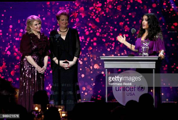 UNICEF USA Board of Directors Event Chair Ghada Irani and UNICEF USA CEO President Caryl M Stern present the Danny Kaye Humanitarian Leadership Award...
