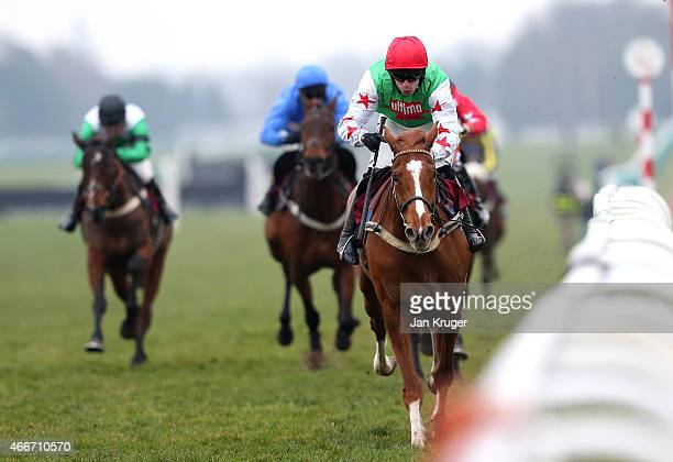 Board Of Trade ridden by Wayne Hutchinson wins the ApolloBet Follow on Twitter and Facebook Standard Open National Hunt Flat Race during Irish day at...