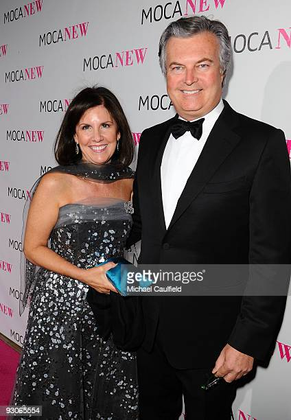 Board of Trustees CoChair David Johnson and Suzanne Nora Johnson arrive at the MOCA NEW 30th anniversary gala held at MOCA on November 14 2009 in Los...