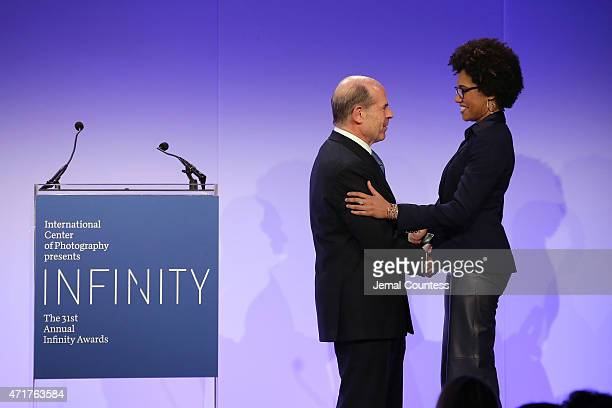 Board of Trustees President Jeffrey A Rosen and Infinity Award winner artist LaToya Ruby Frazier appear onstage at the International Center of...