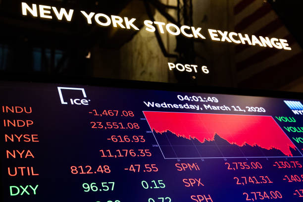 Board on the floor of the New York Stock Exchange on the floor of the New York Stock Exchange on March 11, 2020 in New York City. The Dow plunged...