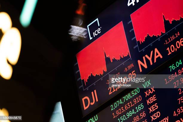 Board on the floor of the New York Stock Exchange on the floor of the New York Stock Exchange on March 12, 2020 in New York City. The Dow Jones...
