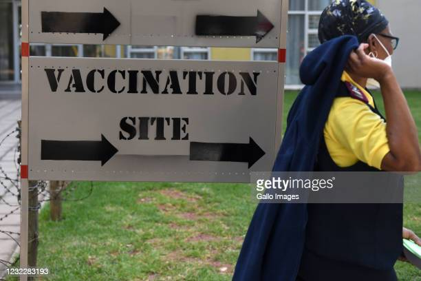 Board points to the vaccination ward at Charlotte Maxeke Hospital on April 08, 2021 in Johannesburg, South Africa. It is reported that the government...