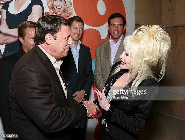 Board President Martin Massman talks with Dolly Parton during the party for the world premiere of of 9 to 5 The Musical at Center Theatre Group's...