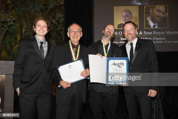 Board President Piper Payne and Executive Director of the Recording Academy San Francisco Chapter Michael Winger present Keith O Johnson and Sean...