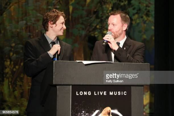 Board President Piper Payne and Executive Director of the Recording Academy San Francisco Chapter Michael Winger speak onstage at the San Francisco...