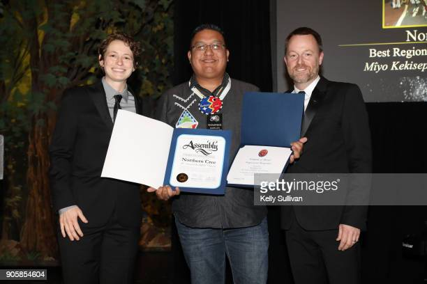 Board President Piper Payne and Executive Director of the Recording Academy San Francisco Chapter Michael Winger present Marlon Deschamps with...