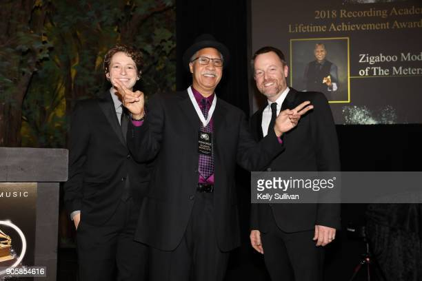 Board President Piper Payne and Executive Director of the Recording Academy San Francisco Chapter Michael Winger pose for a photo with Joseph...