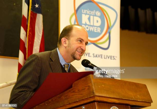 Board President Steve Zimmer speaks on stage at the UNICEF Kid Power Los Angeles Celebration at Selma Avenue Elementary School on March 7 2016 in Los...