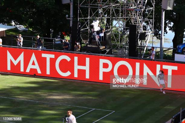 """Board reads """"matchpoint"""" for Jannik Sinner of Italy against Tommy Haas of Germany during the quarterfinal men of the """"Bett1Aces"""" tennis tournament in..."""