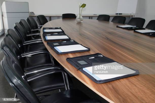 Board room with notebooks