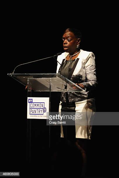 Board Secretary of Wells Fargo Foundation Deborah Smith speaks during the annual Fill the Bag fundraiser on March 10 2015 in New York City