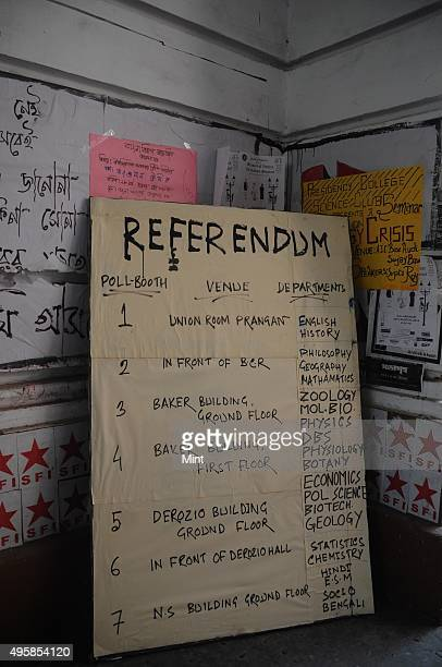 Board showing the notice of referendum by students of Presidency University on seeking the removal from its governing council a Harvard University...
