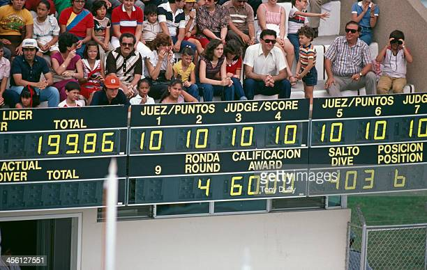 A board shows the scores for American Olympic diver Greg Louganis at the World Aquatics Championships Guayaquil Ecuador 1982 Louganis went on to win...
