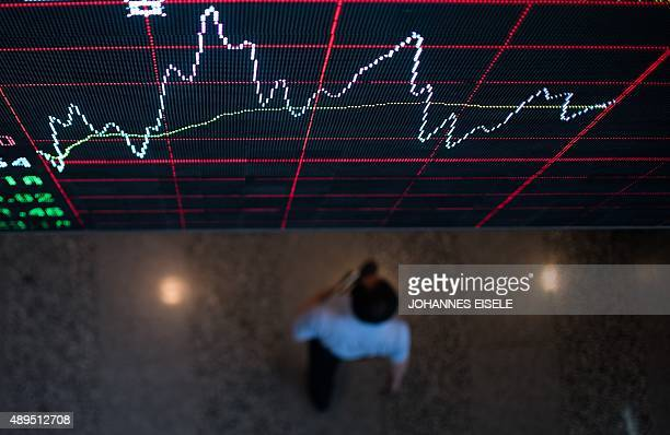 A board shows the stock movements inside the Shanghai Stock Exchange in the Lujiazui Financial district of Shanghai on September 22 2015 AFP PHOTO /...