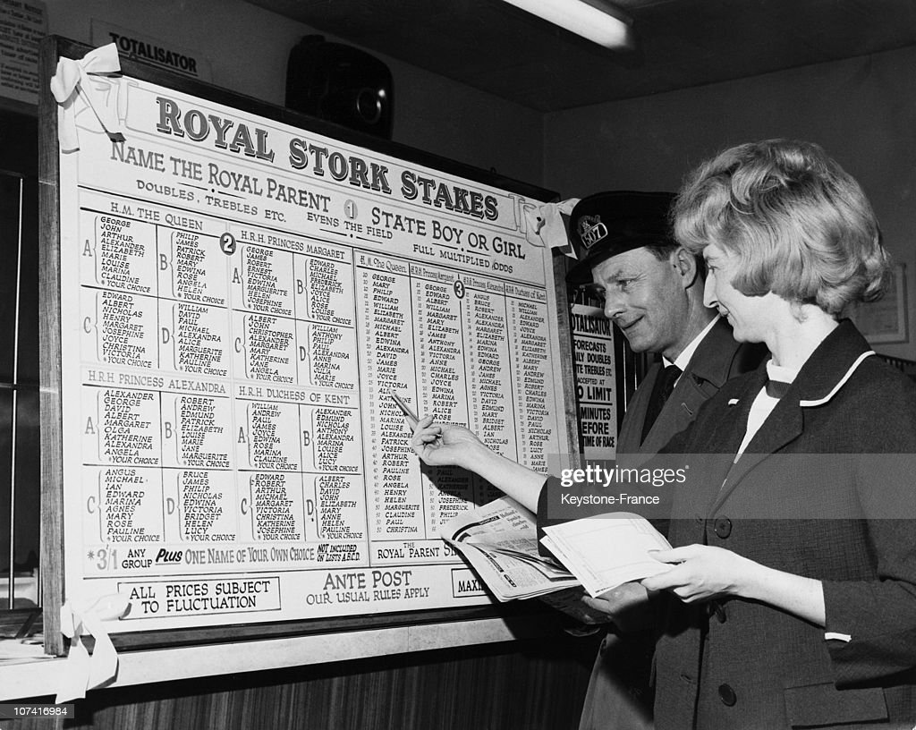 Board With A List Of Suggested Names For The Royal Children In England On February 3Rd 1964 : News Photo