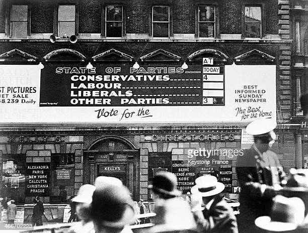 Board with general elections results in a street in June 1929 in London United Kingdom