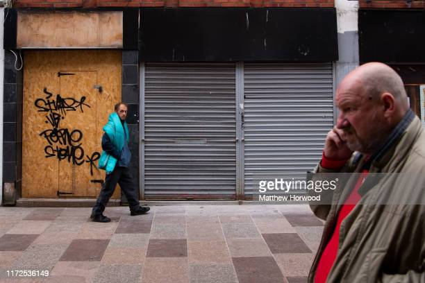 Boarded up and closed down shops in Cardiff city centre on April 22 2018 in Cardiff United Kingdom