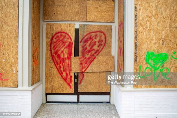 Boarded up business near the Market House in downtown Fayetteville, N.C., Saturday, June 20, 2020.