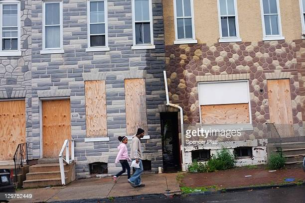 Boarded up homes are viewed in downtown Reading on October 19, 2011 in Reading, Pennsylvania. Reading, a city that once boasted numerous industries...