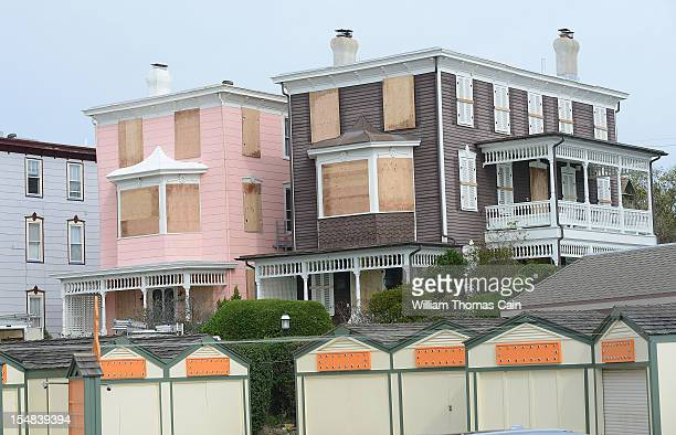 Boarded up homes await Hurricane Sandy October 27, 2012 in Cape May, New Jersey. New Jersey Governor Chris Christie has ordered mandatory evacuations...