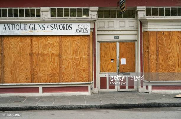 A boarded up shop in the French Quarter of New Orleans amid restrictions in place to help deal with the Covid19 pandemic 22nd March 2020