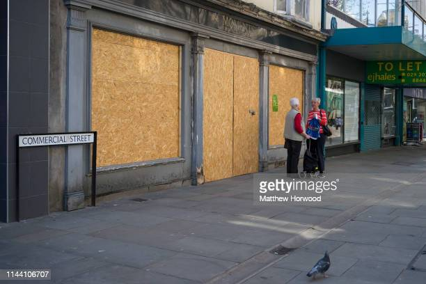 Boarded up shops in Newport town centre on April 19 2019 in Newport United Kingdom Large numbers of high street stores across the UK have closed as...