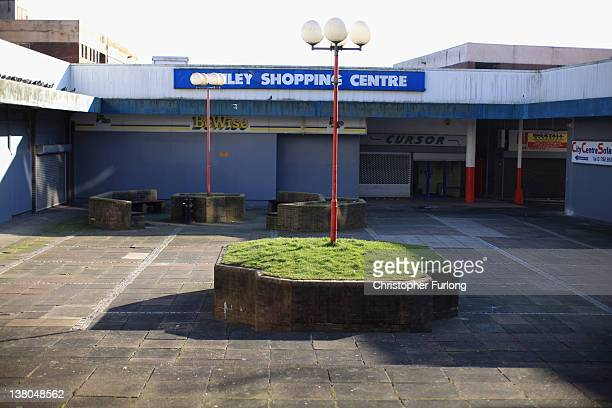 Boarded up shops wait for redevelopment in the Hanley Shopping Centre on February 1 2012 in StokeOnTrent England Staffordshire has borne the brunt of...