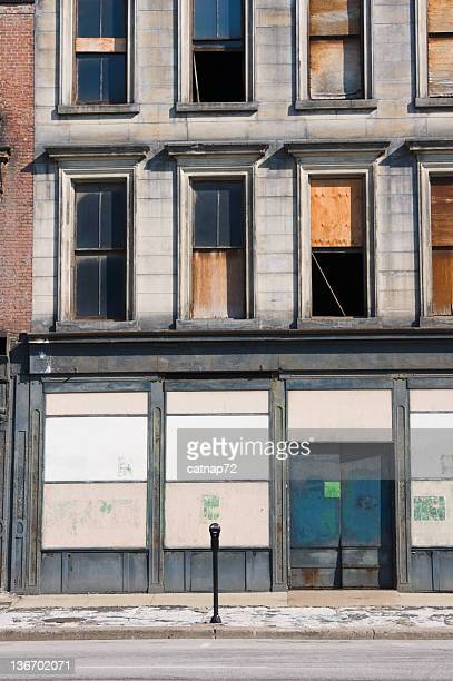 Boarded Up Store Front, Business Abandoned and Closed