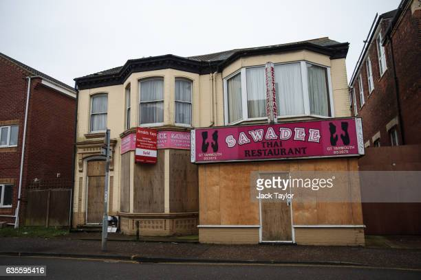 A boarded up Thai restaurant is pictured on February 7 2017 in Great Yarmouth United Kingdom The town of Great Yarmouth on the East Coast of England...