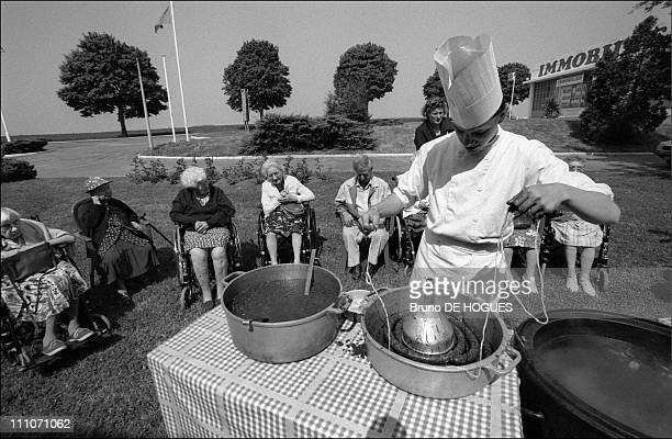 Boarder's day out at the 'Relais du Miel' in Montargis blood sausage making at 'Sacred heart' Retirement home in Gentilly France on September 01 1998