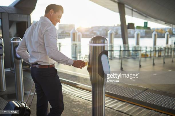 boarding a ferry in sydney harbour. - ferry stock photos and pictures
