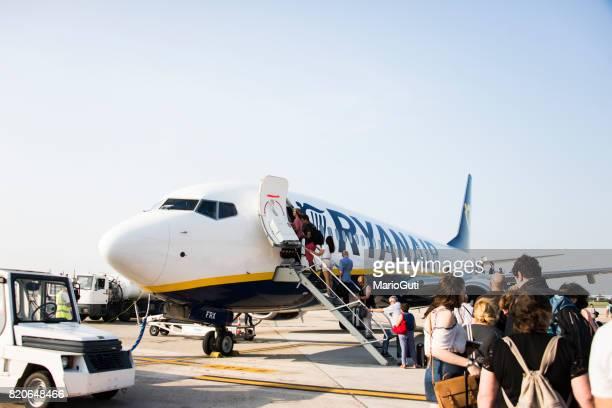 Boarding a Ryanair airplane