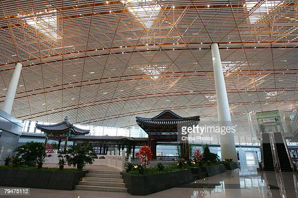 Boarding area of Chinese pavilion style is seen in the new terminal building T3 at the Beijing Capital International Airport on February 1 2008 in...