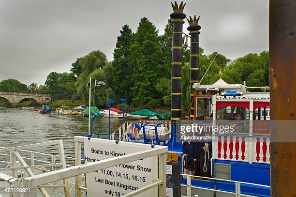 boarding point for a thames river cruiser - ship funnel stock photos and pictures