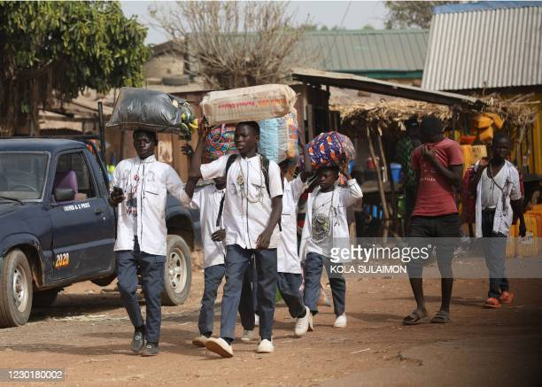 Boarding school children returns back home after government close down schools in northwestern, Nigeria due to the abduction of students kidnapped by...