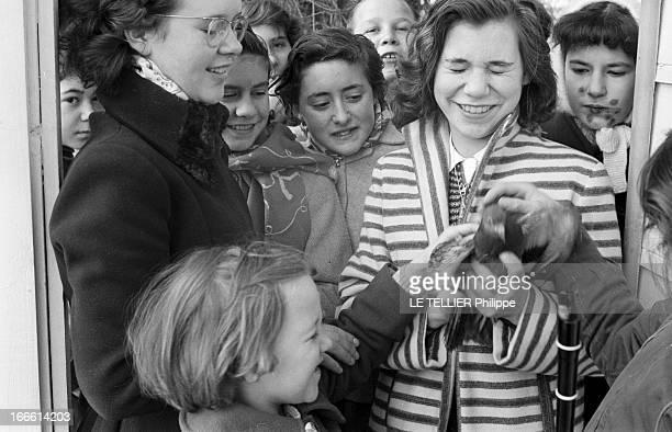 Boarding School For Children En France dans un pensionnat pour enfants des enfants regroupés autour d'une adolescente tenant un pigeon dans ses mains