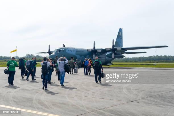 Boarding the Lock Head C130 Hercules from FAB Brazilian Air Force on November 03 2019 to King George Island Antarctica