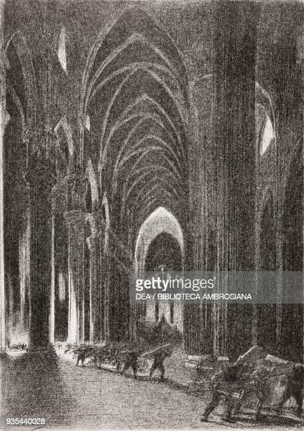 Boards and benches being carried out of the cathedral of Milan to verify that they hadn't been infected by the plague spreaders, illustration by...