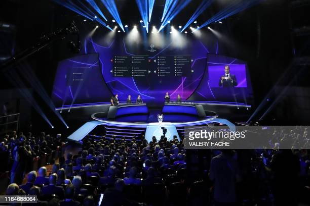 Boards displaying the groups of European football teams are pictured during the UEFA Champions League football group stage draw ceremony in Monaco on...