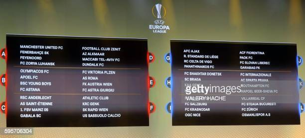 Boards displaying the groups of European football teams are pictured during the UEFA Europa League group stage draw ceremony, on August 26 in Monaco.